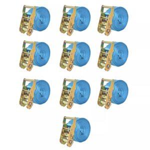 Cintas de fixação c/ roquete 10 pcs 2 toneladas 6mx38mm azul - PORTES GRÁTIS
