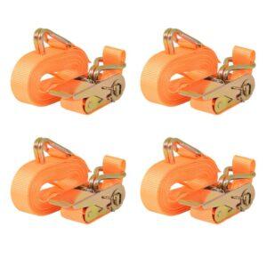 Cintas de fixação c/ roquete 4pcs 0,4 toneladas 6mx25mm laranja - PORTES GRÁTIS