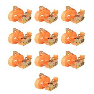 Cintas fixação c/ roquete 10 pcs 0,4 toneladas 6mx25mm laranja - PORTES GRÁTIS