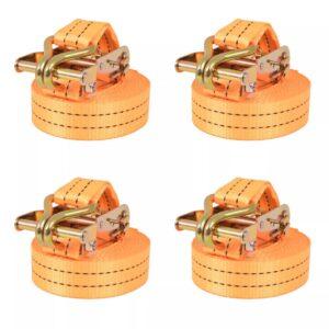 Cintas de fixação c/ roquete 4 pcs 1 tonelada 6mx38mm laranja - PORTES GRÁTIS