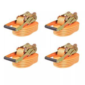 Cintas de fixação c/ roquete 4 pcs 2 toneladas 8mx50mm laranja - PORTES GRÁTIS