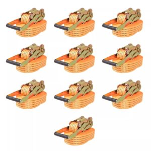 Cintas de fixação c/ roquete 10 pcs 2 toneladas 8mx50mm laranja - PORTES GRÁTIS
