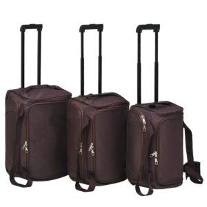 Conjunto de malas de viagem 3 pcs café - PORTES GRÁTIS