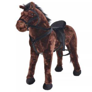 Cavalo de montar em peluche castanho escuro XXL - PORTES GRÁTIS