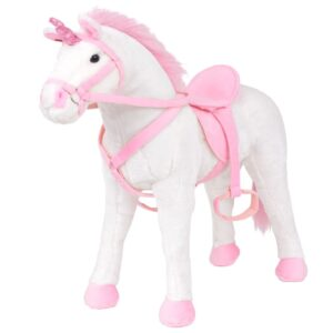 Brinquedo de montar unicórnio peluche branco e rosa XXL - PORTES GRÁTIS