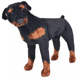 Brinquedo de montar cão rottweiler peluche preto e castanho XXL - PORTES GRÁTIS