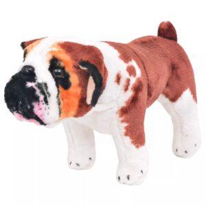 Brinquedo de montar bulldog peluche branco e castanho XXL - PORTES GRÁTIS