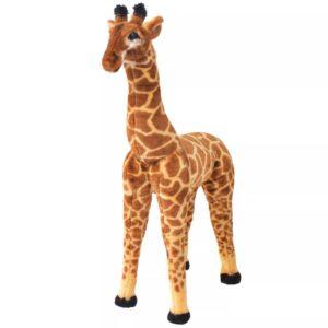 Brinquedo de montar girafa peluche castanho e amarelo XXL - PORTES GRÁTIS