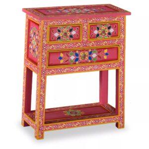Aparador c/ gavetas madeira mangueira rosa pintado à mão - PORTES GRÁTIS