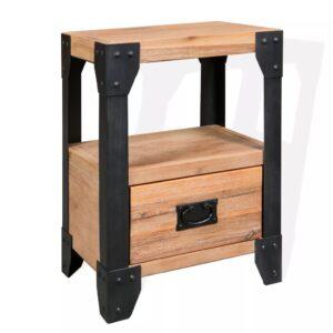 Mesa de cabeceira 40x30x54 cm madeira de acácia maciça e aço       - PORTES GRÁTIS