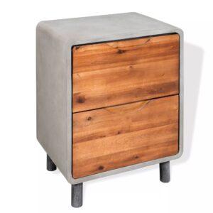 Mesa de cabeceira em betão e madeira acácia maciça 40x30x50 cm - PORTES GRÁTIS