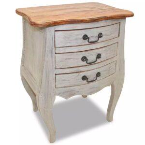 Mesa de cabeceira em madeira maciça recuperada 48x35x64 cm - PORTES GRÁTIS
