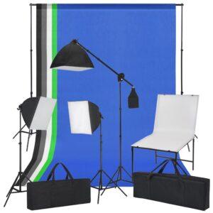 Kit estúdio fotográfico com mesa, luzes e fundos - PORTES GRÁTIS