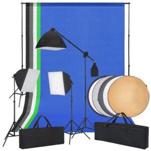 Kit estúdio fotografia c/ luzes softbox, fundos e um refletor - PORTES GRÁTIS
