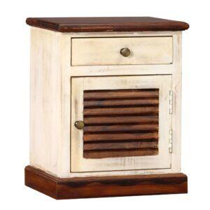 Mesa de cabeceira em madeira de sheesham maciça 30x40x50 cm - PORTES GRÁTIS