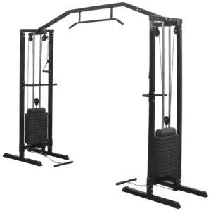 Estação de musculação crossover com cabos 315 cm preto - PORTES GRÁTIS
