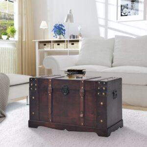 Arca/baú vintage em madeira 66x38x40 cm - PORTES GRÁTIS