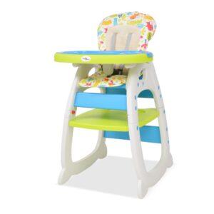 Cadeira de refeição conversível 3 em 1 com mesa azul e verde - PORTES GRÁTIS