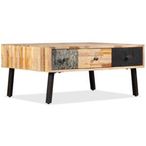 Mesa de centro teca maciça reciclada 90x65x40 cm  - PORTES GRÁTIS