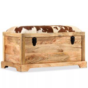 Banco c/ arrumação couro genuíno e madeira mangueira 80x44x44cm - PORTES GRÁTIS