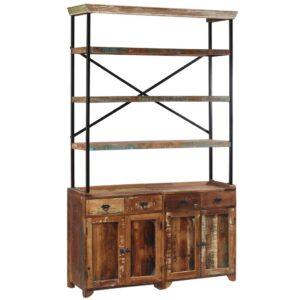 Aparador c/ prateleiras madeira recuperada maciça 120x35x200 cm - PORTES GRÁTIS
