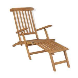 Espreguiçadeira com apoio de pés em madeira teca maciça - PORTES GRÁTIS