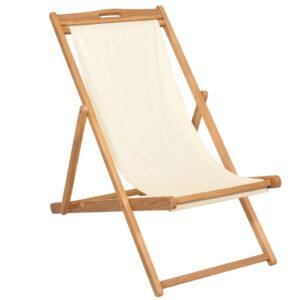 Cadeira de pátio em teca 56x105x96 cm creme - PORTES GRÁTIS