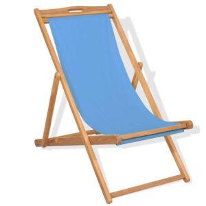 Cadeira de pátio em teca 56x105x96 cm azul - PORTES GRÁTIS
