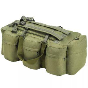 Saco de pano estilo militar 3-em-1 120 L verde azeitona - PORTES GRÁTIS