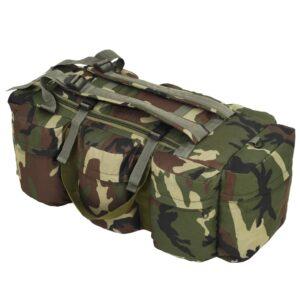 Saco de pano estilo militar 3-em-1 120 L camuflagem - PORTES GRÁTIS