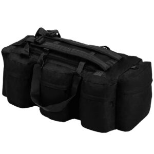 Saco de pano estilo militar 3-em-1 120 L preto - PORTES GRÁTIS
