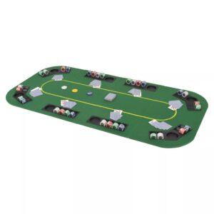 Tabuleiro póquer dobrável em 4 p/ 8 jogadores retangular verde - PORTES GRÁTIS