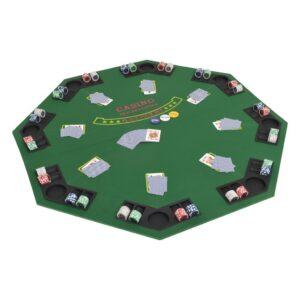 Tabuleiro póquer dobrável em 2 p/ 8 jogadores octogonal verde - PORTES GRÁTIS