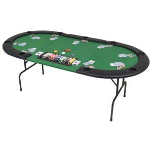 Mesa de póquer dobrável em três 9 jogadores verde - PORTES GRÁTIS