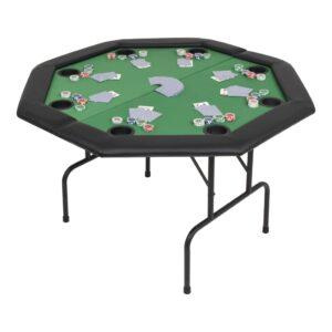 Mesa de póquer dobrável em dois 8 jogadores octogonal verde - PORTES GRÁTIS