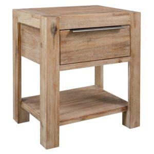 Mesa-de-cabeceira c/ gaveta 40x30x48 cm madeira acácia maciça - PORTES GRÁTIS