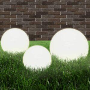 Conjunto de candeeiros esféricos LED 3 pcs 20/30/40 cm PMMA - PORTES GRÁTIS