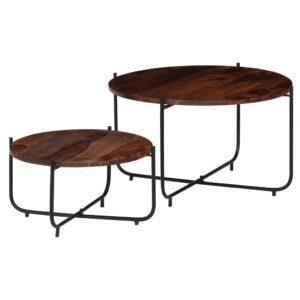 Conj. mesas de centro 2 pcs madeira de sheesham maciça 60x35 cm - PORTES GRÁTIS