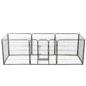Parque para cães 8 painéis aço 80x80 cm preto - PORTES GRÁTIS