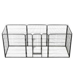 Parque para cães 8 painéis aço 80x100 cm preto - PORTES GRÁTIS