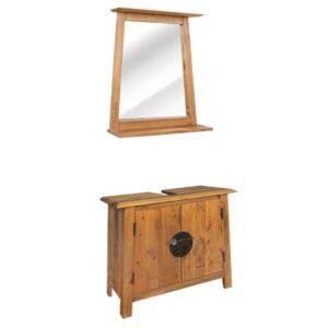 Conjunto móveis casa de banho pinho maciço reciclado - PORTES GRÁTIS