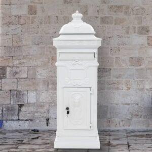 Caixa correio coluna estilo vintage alumínio inoxidável branco - PORTES GRÁTIS