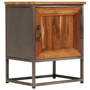 Mesa de cabeceira madeira de teca reciclada e aço 40x30x50 cm - PORTES GRÁTIS