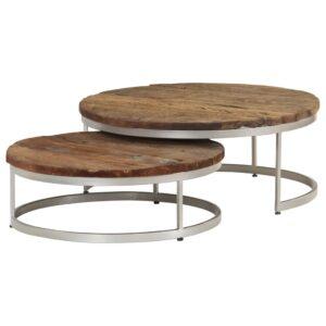 Conjunto mesas centro 2 pcs madeira de caminhos-de-ferro e aço - PORTES GRÁTIS
