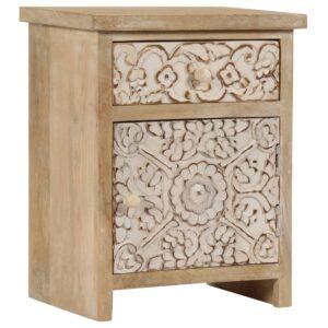 Mesa de cabeceira em madeira de mangueira maciça 40x30x50 cm - PORTES GRÁTIS