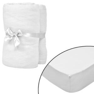Lençol ajustável colchão água 2 pcs 200x220 cm algodão branco - PORTES GRÁTIS
