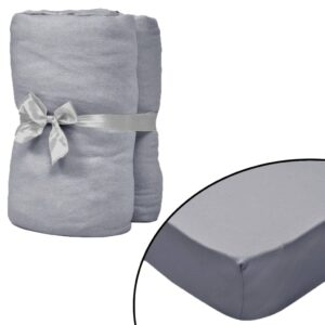 Lençol ajustável colchão água 2 pcs 180x200 cm algodão cinzento - PORTES GRÁTIS
