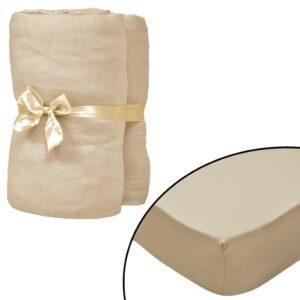 Lençol ajustável colchão água 2 pcs 180x200 cm algodão bege - PORTES GRÁTIS