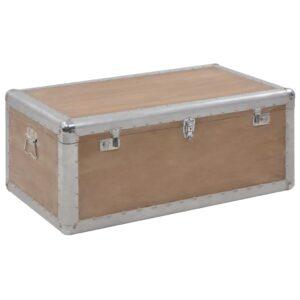 Caixa de arrumação madeira de abeto maciça 91x52x40 cm castanho  - PORTES GRÁTIS
