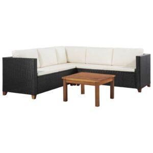 4 pcs conjunto lounge de jardim c/ almofadões vime PE preto - PORTES GRÁTIS